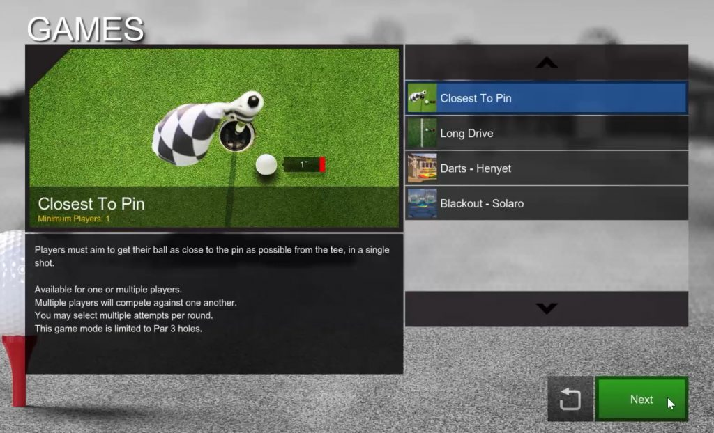 E6 Golf Software Interface